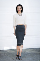 Leith skirt - H&M sweater - silver sandals Kat Maconie sandals