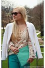 Dark-brown-h-m-sunglasses-white-blouse-turquoise-blue-primark-pants