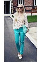 white blouse - dark brown H&M sunglasses - turquoise blue Primark pants