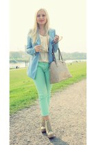 aquamarine Primark pants - sky blue blazer - cream H&M blouse