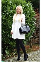white dress - black bag - black heels