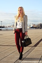 silver Zara blazer - brick red Primark pants - white reserved t-shirt