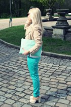 cream sandals - cream H&M jacket - light blue Primark bag
