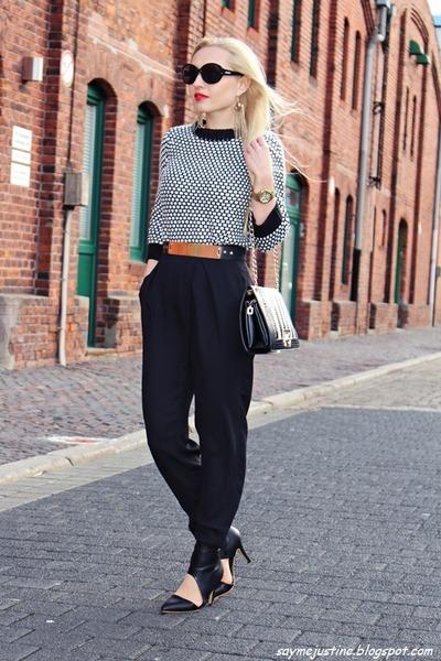 black bag - white sweater - black sunglasses - gold watch - black Mango pants