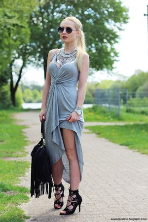 black bag - heather gray dress - black sunglasses - silver necklace