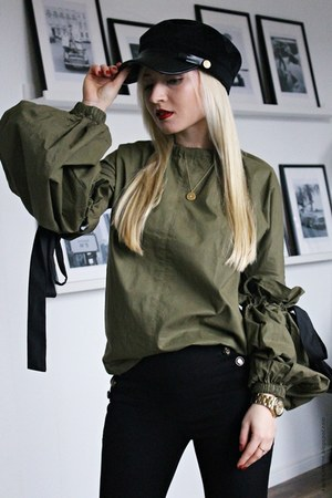 olive green blouse - black Guess shoes - black hat - black Prada bag