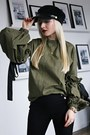 Black-guess-shoes-black-hat-black-prada-bag-olive-green-blouse