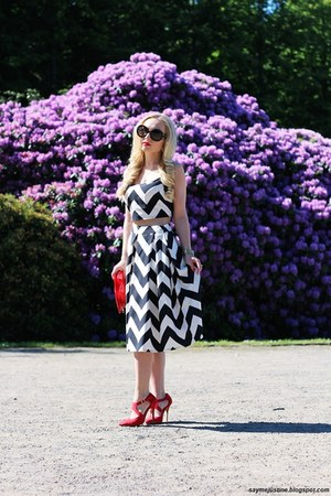 white top - red bag - black Prada sunglasses - white skirt - red heels