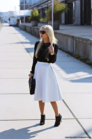 black shoes - black bag - black sunglasses - white skirt - black blouse