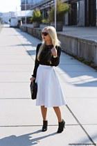 black shoes - black bag - black sunglasses - white skirt - black blouse