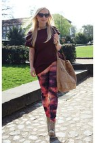 cream shoes - cream H&M jacket - maroon Zara blouse