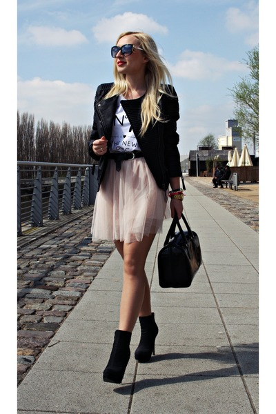 light pink Primark skirt - black Mango jacket - white reserved t-shirt
