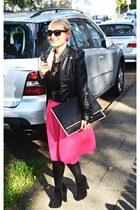 black Primark bag - black new look shoes - hot pink asos skirt