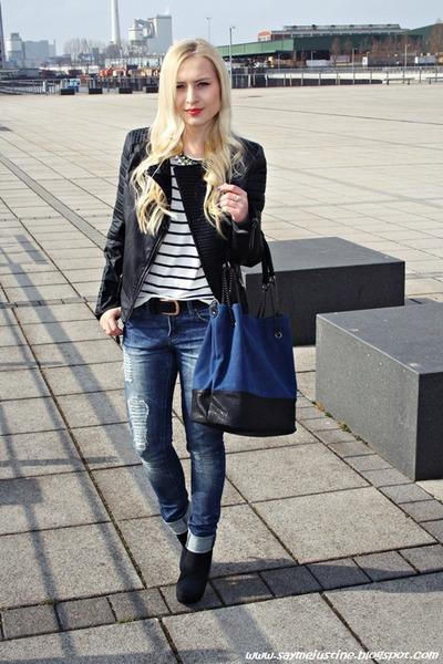 navy bag - navy new look jeans - black Mango jeans