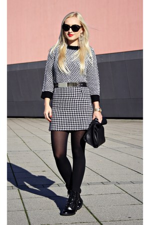 black sweater - black Zara bag - white shdiy skirt