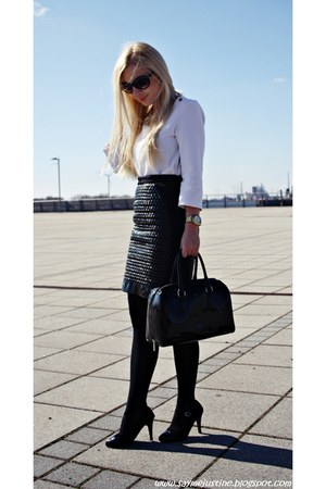 black shoes - black Mango sunglasses - white Zara blouse - black H&M skirt