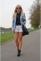 light blue blazer - black shoes - black bag - black New Yorker sunglasses