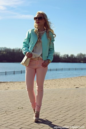 aquamarine jacket - ivory bag - bronze sunglasses - ivory blouse - peach pants