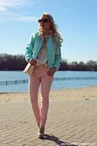 aquamarine jacket - ivory bag - bronze sunglasses - ivory blouse - peach pants