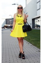 yellow Primark dress - black sandals