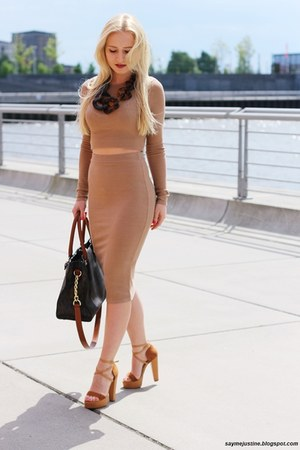 camel top - brown Michael Kors bag - camel skirt - brown necklace