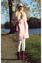 light pink coat - brick red boots - brick red bag - silver watch