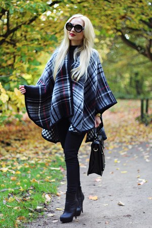 black boots - black bag - black Prada sunglasses - gray Steve Madden cape