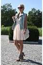 Peach-h-m-dress-light-blue-vest
