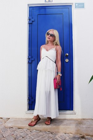 gold watch - ivory dress - hot pink bag - bronze sunglasses - tawny sandals