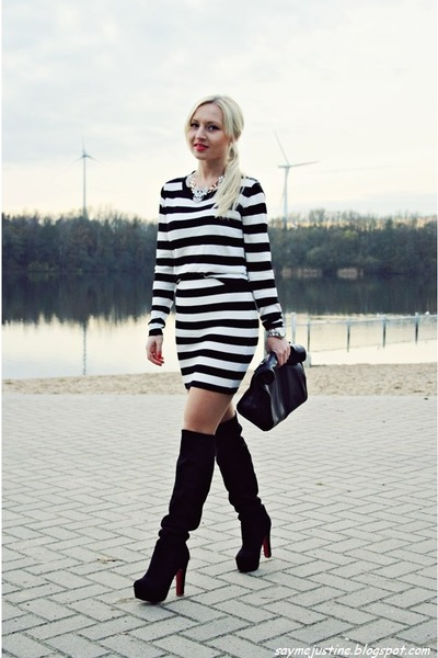 black boots - black bag - white blouse - white skirt
