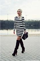 black boots - black bag - white blouse - white skirt