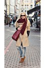 Beige-zara-coat-brick-red-mango-bag