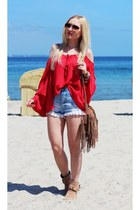red blouse - tan shoes - bronze bag - sky blue shorts - gold watch