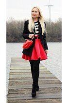 red bag - black shoes - black coat - red skirt - gold watch