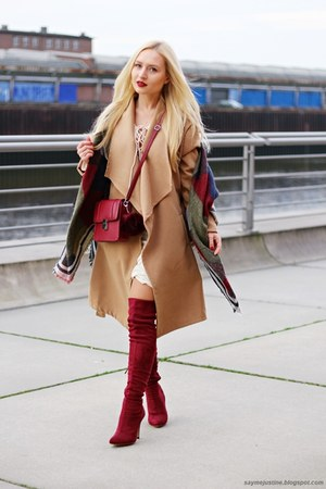 camel coat - ruby red boots - ivory dress - dark green scarf - ruby red bag