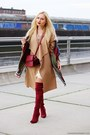 Ruby-red-boots-ivory-dress-camel-coat-dark-green-scarf-ruby-red-bag