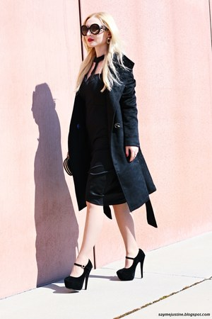 black dress - black coat - black bag - black Prada sunglasses - black heels