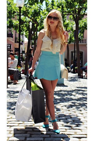 gold watch - turquoise blue shoes - ivory bag - bronze sunglasses - cream top