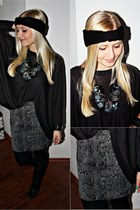 gray H&M skirt - black Bata shoes - black H&M sweater - gray necklace