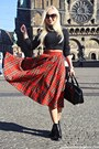 Black-boots-black-h-m-diy-sweater-black-bag-red-skirt-gold-necklace