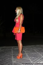 carrot orange shoes - hot pink Primark dress