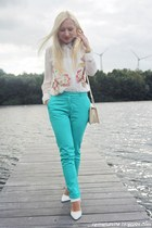 white shoes - cream bag - white blouse - turquoise blue pants