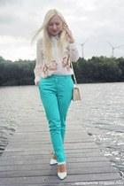white shoes - cream bag - white blouse - turquoise blue pants