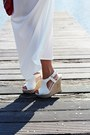 White-dress-hot-pink-bag-gold-watch-white-wedges