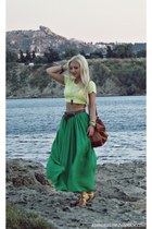 green skirt - yellow Primark top - gold Guess watch