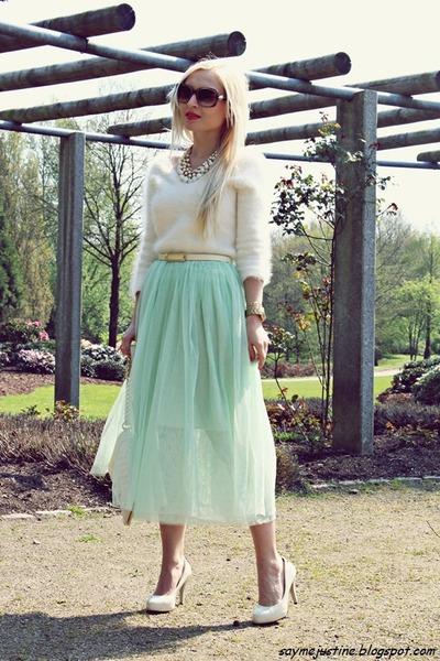 light blue skirt - white sweater - ivory bag - bronze sunglasses - cream pumps
