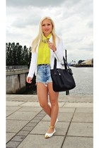 yellow New Yorker shirt - white shoes - white Zara blazer - black bag