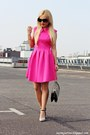 Hot-pink-dress-black-bag-black-sunglasses-white-heels-gold-watch