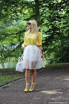 yellow shoes - white Furla bag - black sunglasses - yellow blouse