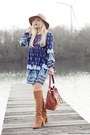 Bronze-zara-boots-blue-dress-camel-hat-tawny-bag